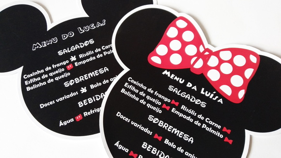 Cardápio/Menu Minnie e Mickey