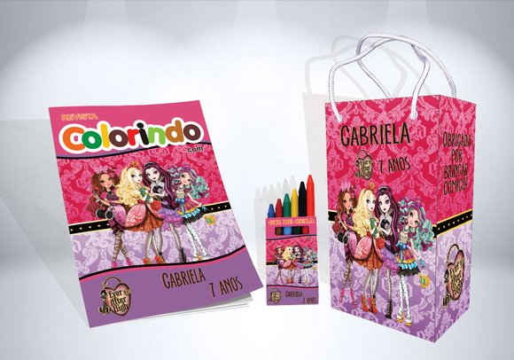 Kit De Colorir Ever After High Revista Sacola Giz Brindes