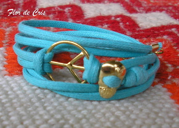 Peace & Skull in turquoise