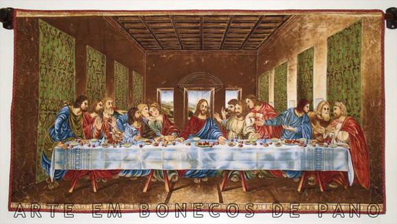 PAINEL SANTA CEIA - QUADRO EM TECIDO | ARTE EM BONECOS DE PANO | Elo7 Da Vinci Last Supper Restored