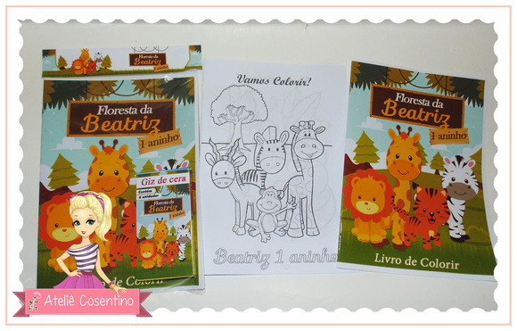Kit Livro de Colorir+giz de cera - Safari