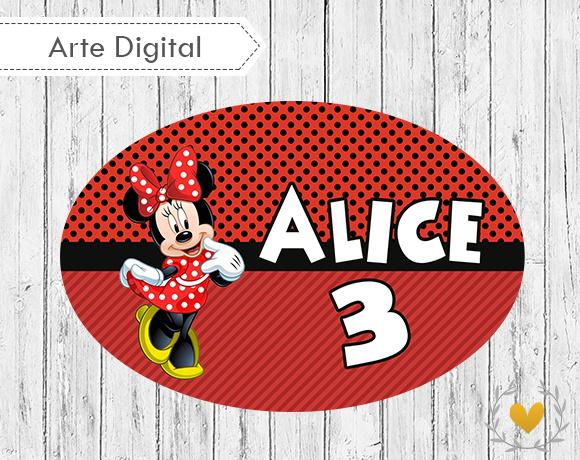 Placa Elipse Minnie Digital  adf63afd71e44