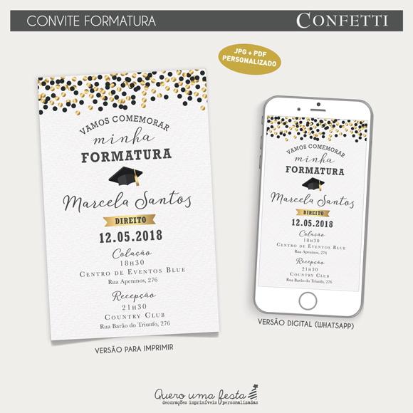Convite Formatura Confetti Arquivo Digital