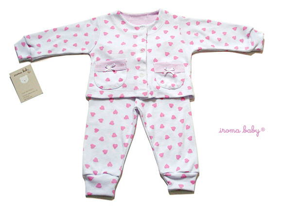 28908e9510 Pijama para bebe menina rosa coracao no Elo7
