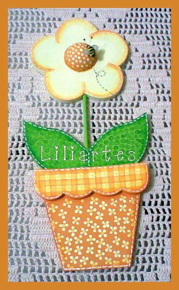 Enfeite De Vaso ~ Enfeite de parede vaso com flor Liliartes Biscuit Elo7