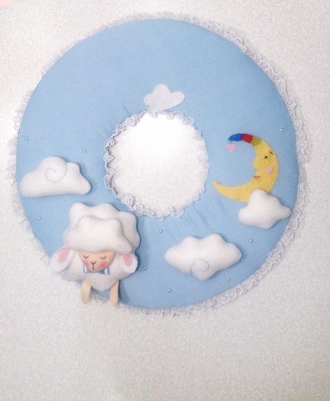 Enfeite de Porta Maternidade Ovelha para Menino   Elo7 2d5b97bad7