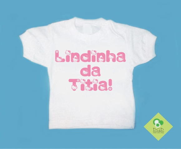 T-Shirt Bebê e Infantil Tia Hello Kitty