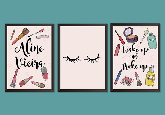 "Quadro Personalizável ""Wake Up and Make Up"