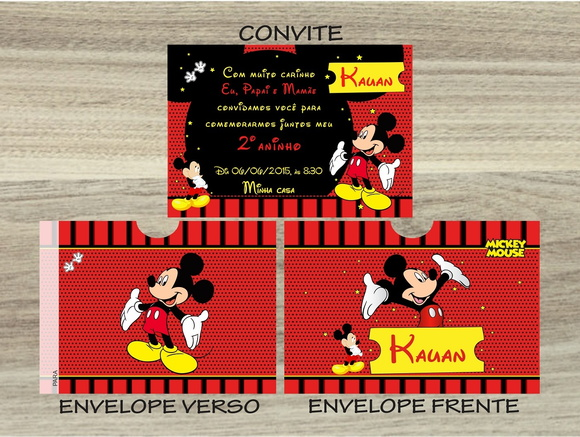 Convite MICKEY Mais Envelope MICKEY