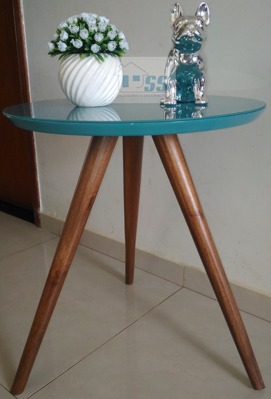 Mesa de canto Tifany com vidro pé palito altura 60 cm