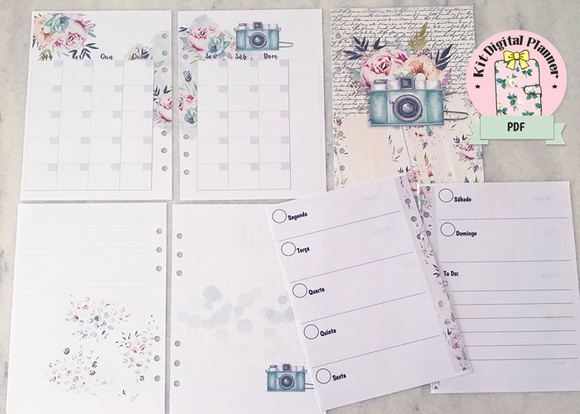 (ARQUIVO DIGITAL) KIT PLANNER PHOTO AND FLOWERS A5