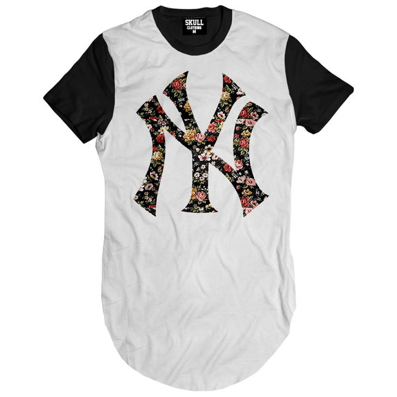 Camiseta Longa Ny Floral Hip Hop Camisa Masculina Alongada  0b2d0346646