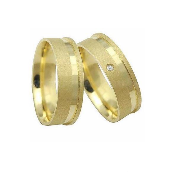 Alianca de Ouro 18k Fosca Filete Polido e Diamante Par   Elo7 59882787b8