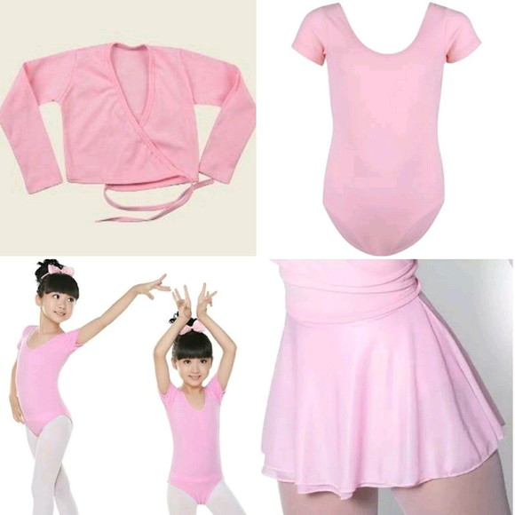 5bd7576f57 Roupa de Ballet Infantil Collant Casaquinho e Saia de Bale