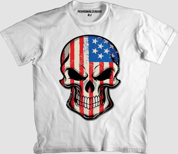 aa637f47dc Camisa Caveira com Estampa da Bandeira dos Eua
