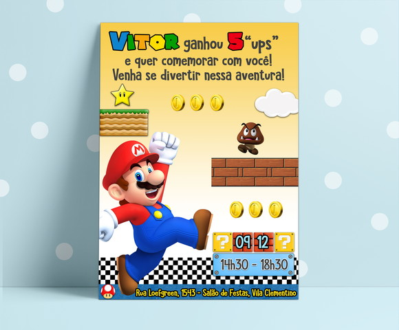 Convite Arte Digital Super Mario Bros
