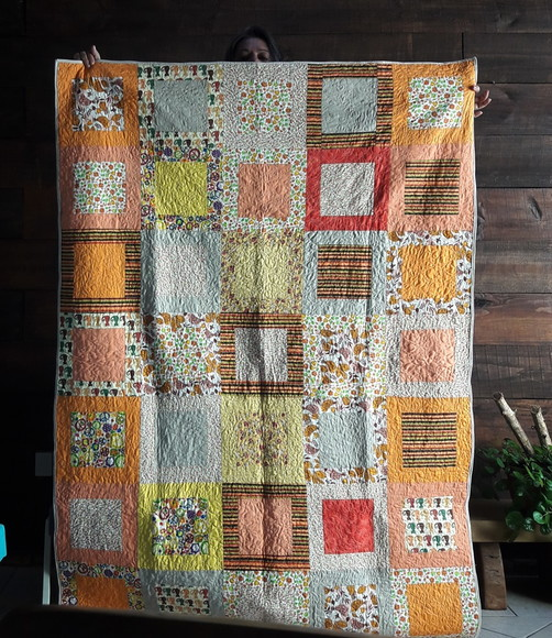 Manta em Patchwork Orange Party