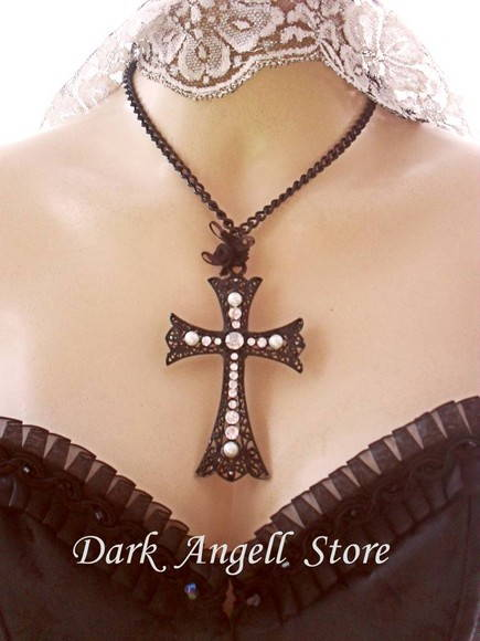 ~ Colar & Crucifixo Black Cross ~