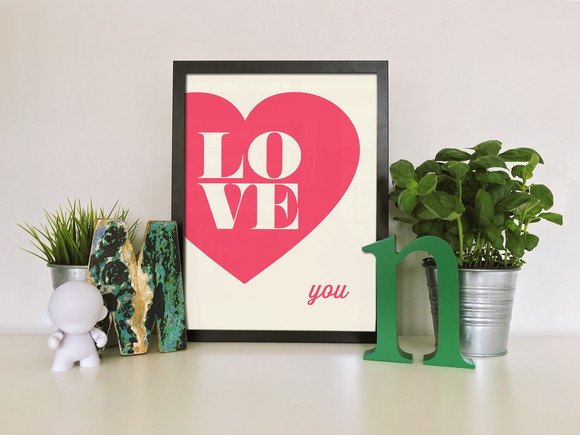 "Quadro moldura MDF ""Love You"""