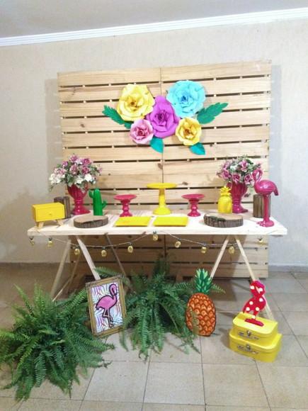 Decoraç u00e3o de festa Flamingo Tropical Locaç u00e3o no Elo7 lily festas decoraç u00e3o infantil (C45E2C)