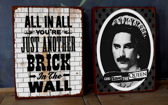 Kit 2 Telas 30x40 Songs Another Brick & God Save Queen