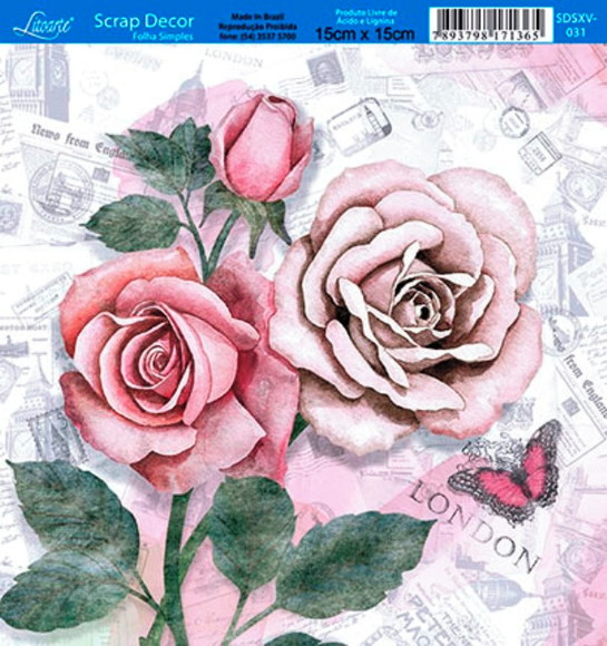 SDSXV-031 -Papel Scrap Decor Rosas