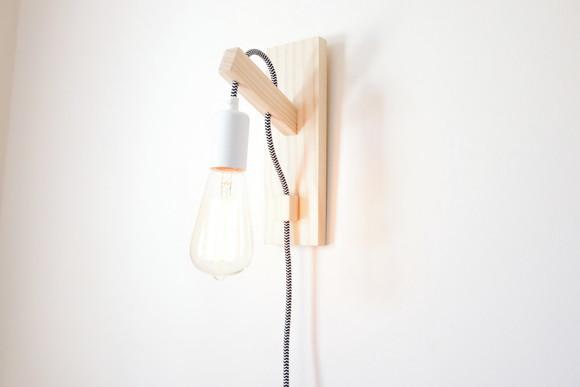 Luminária Arandela Parede c fiaç u00e3o em tecido e interruptor no Elo7 Asahi Marcenaria (826669)