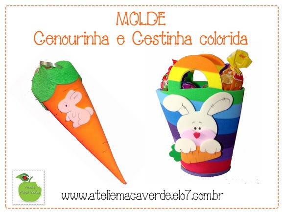 Molde Cenoura E Cestinha De Pascoa Color No Elo7 Atelie Maca