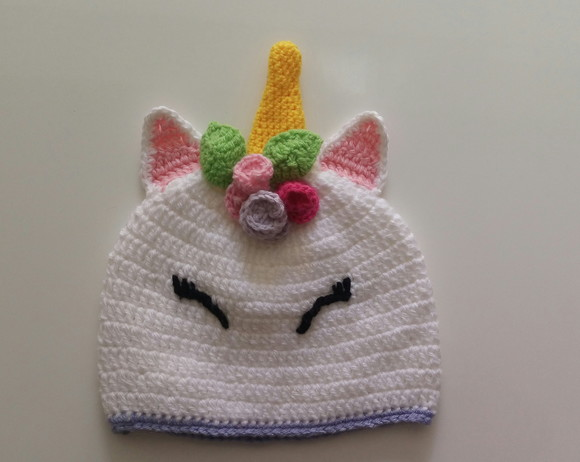 Touca de Croche Infantil Unicornio  5996e231fc1
