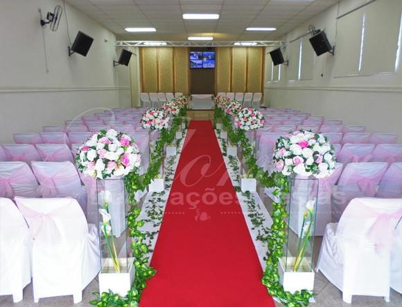 Aluguel Decoraç u00e3o Corredor Casamento Rosa e Branco no Elo7 Adornar Decorações Para Festas e  -> Decoração De Casamento Na Igreja Rosa E Branco