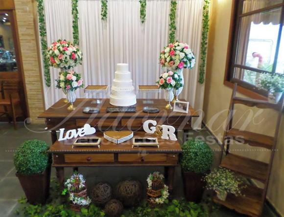 Aluguel Decoraç u00e3o Casamento Mesa do Bolo Rústica Rosa Branco no Elo7 Adornar Decorações Para  -> Decoração De Mesa Do Bolo Para Casamento Simples
