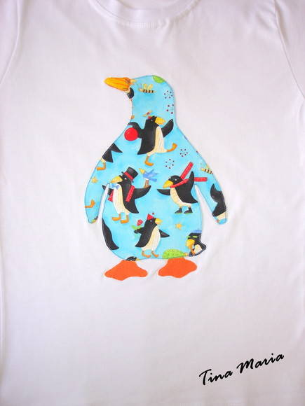 Camiseta baby look - pinguim grande