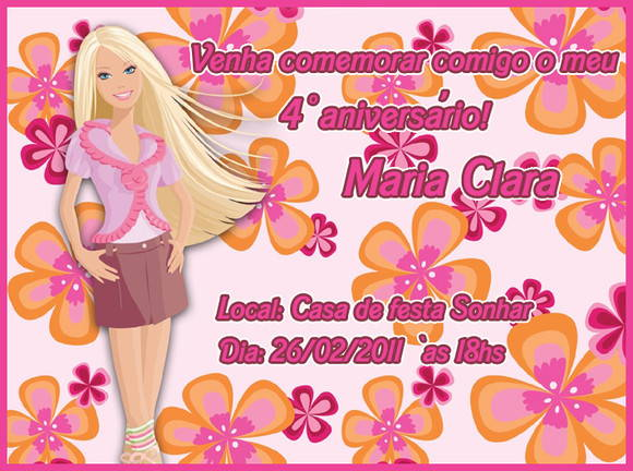 Arte Convite Barbie 01 (VIRTUAL)