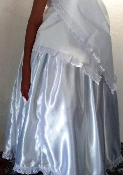 4fb7b44ea4 Saia Saiote Branco de Cetim Umbanda