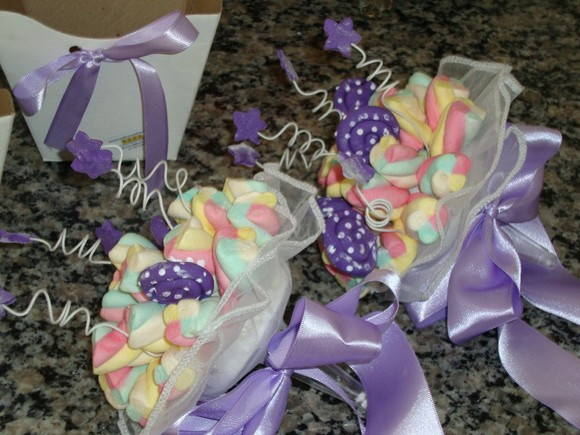 Buquê de marshmallows roxo