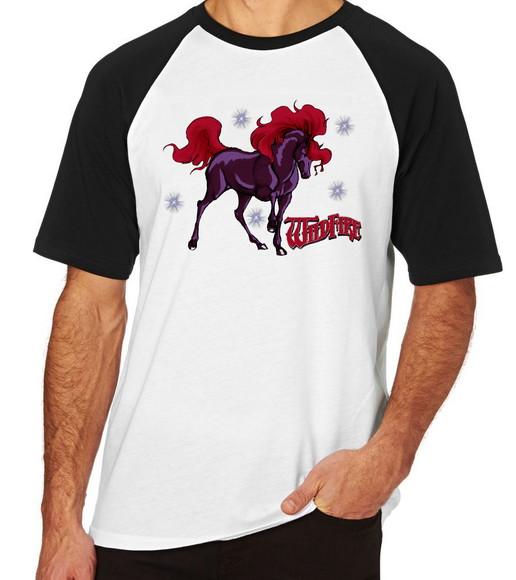 26069086b2 Camiseta Raglan Blusa Camisa Unissex Cavalo de Fogo Wildfire