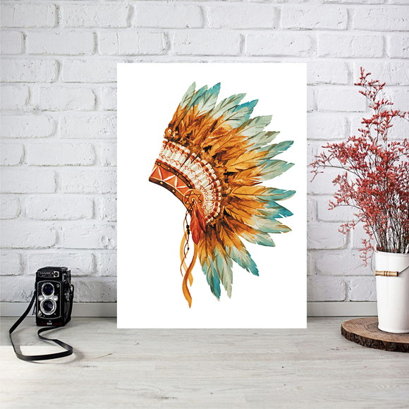Poster digital p/ quadro - Tribal - Cocar indigina