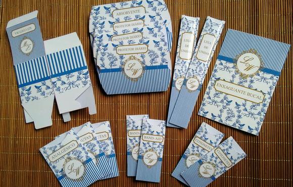 Kit Toalete Banheiro Azul e Dourado   Elo7 d7b3955648