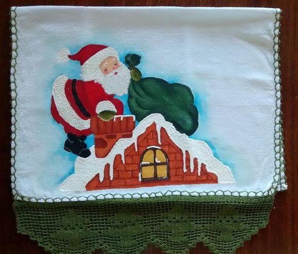 Pano De Prato Pintura Em Tecido Papai Noel Na Chamine Elo7