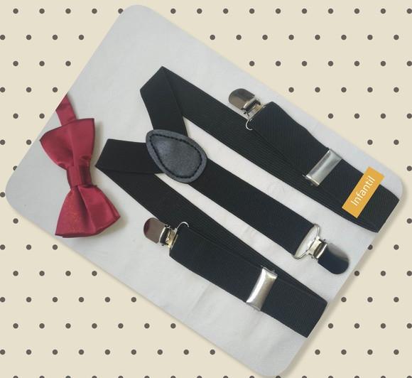 a59a08904 Kit Suspensório Preto + gravata Vinho - Infantil no Elo7