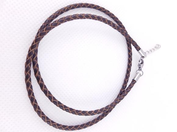 Colar de Couro legitimo trançado 3mm marrom fecho aço 45cm