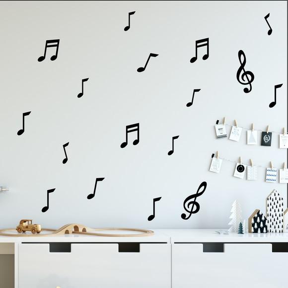 Adesivo De Parede Notas Musicais Elo7