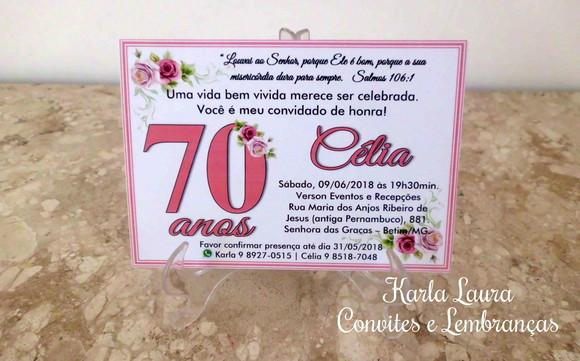 Mensagens De Aniversario 70 Anos: CONVITE DE ANIVERSÁRIO ADULTO - 70 ANOS No Elo7