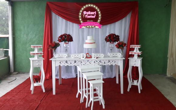 Decoraç u00e3o de Festa de casamento Vermelho e Branco Simples no Elo7 Dekori Festas (Simone Al -> Decoração De Casamento Simples Com Tnt Vermelho E Branco