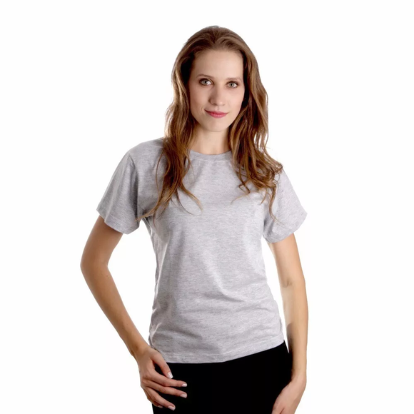 3fed92edac Camiseta Feminina Cinza Mescla Bateria Preta e Branca