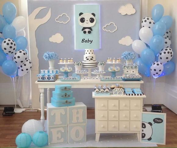 Aluguel Decoraç u00e3o de festa ou chá de beb u00ea Panda Azul no Elo7 KING PANDA FESTAS (D291AC) -> Decoração Chá De Bebê Nuvem