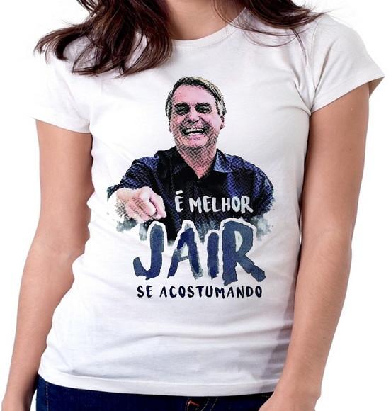 ec97317de6 Blusa Feminina Baby Look Melhor Jair Acostumando Bolsonaro P