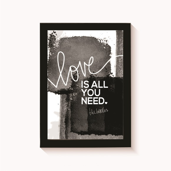 Quadro-Poster com Moldura Love is all you need