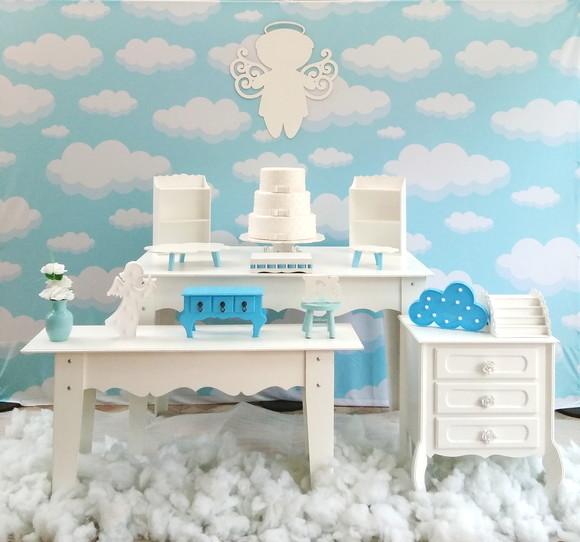 Decoraç u00e3o para batizado Anjo Chá de beb u00ea nuvens no Elo7 Rede Festas Decorações (D6CAD4) -> Decoração Chá De Bebê Nuvem