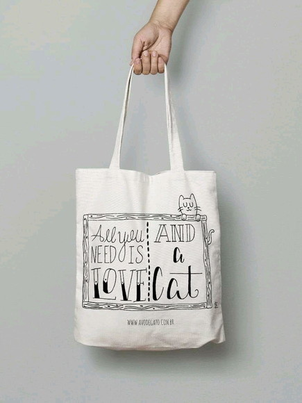 "Ecobag ""All you need is love, and a cat"""